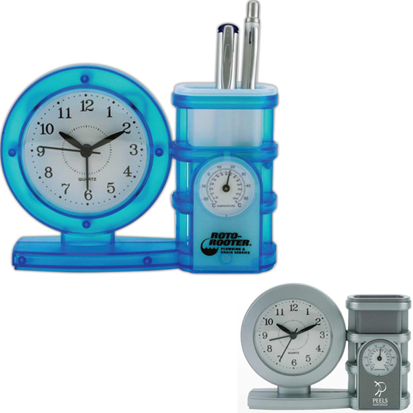 Pen holder clock with temperature gauge