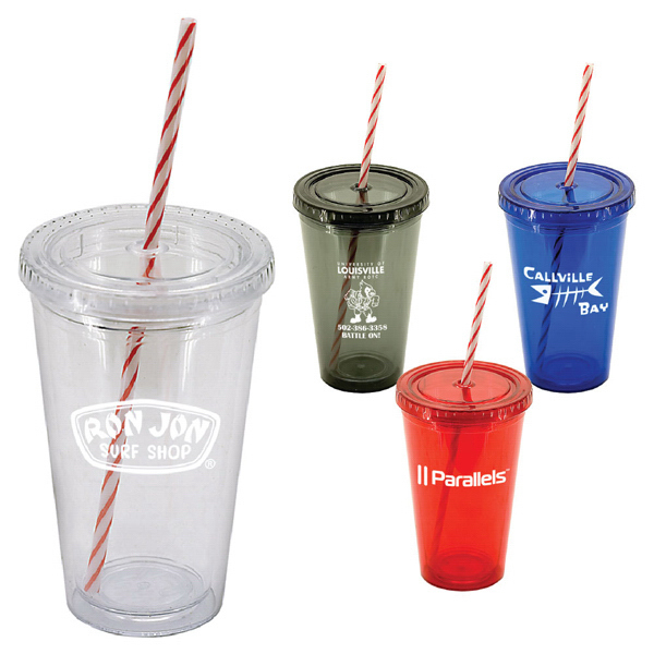 16 oz. tumbler with candy cane straw and lid