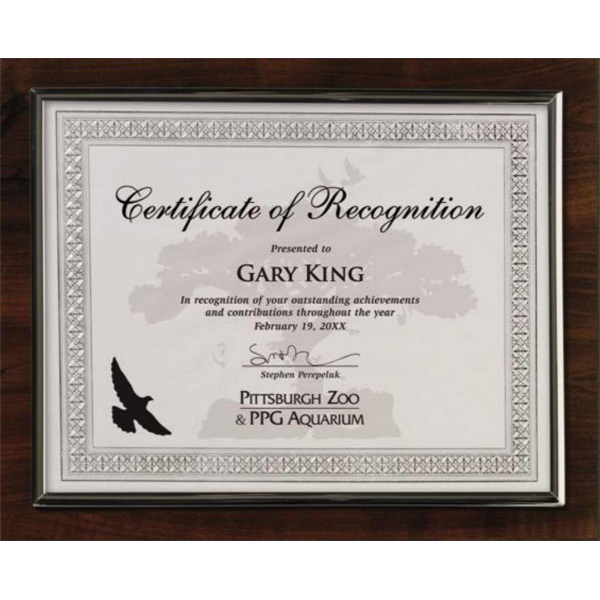 Promotional Certificate holder walnut finish with gold trim