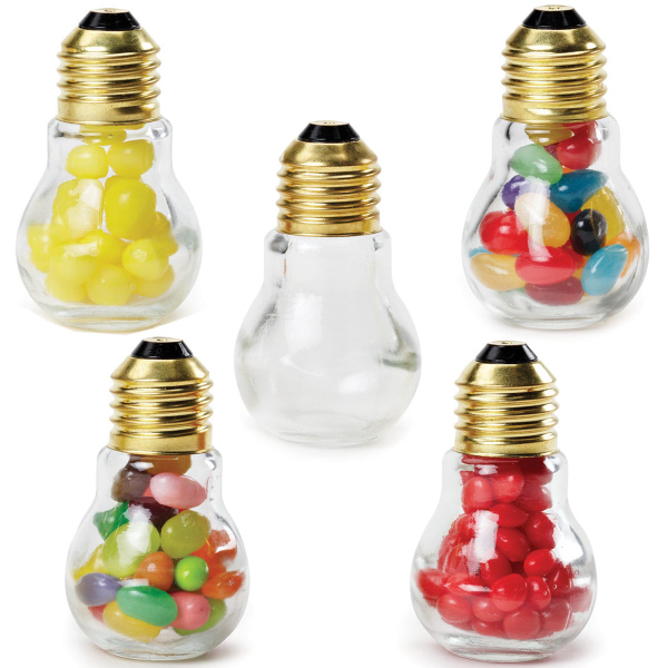 Imprinted Mini Light Bulb Glass Jar with Jelly Belly's