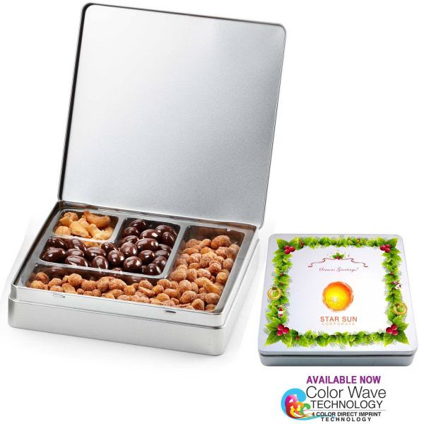 Gourmet Holiday Tin Gift Box with Nuts and Chocolates