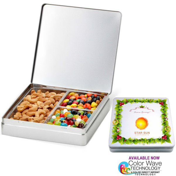 Gourmet Holiday Tin Gift Box with Nuts n Chocolates 3 Slots
