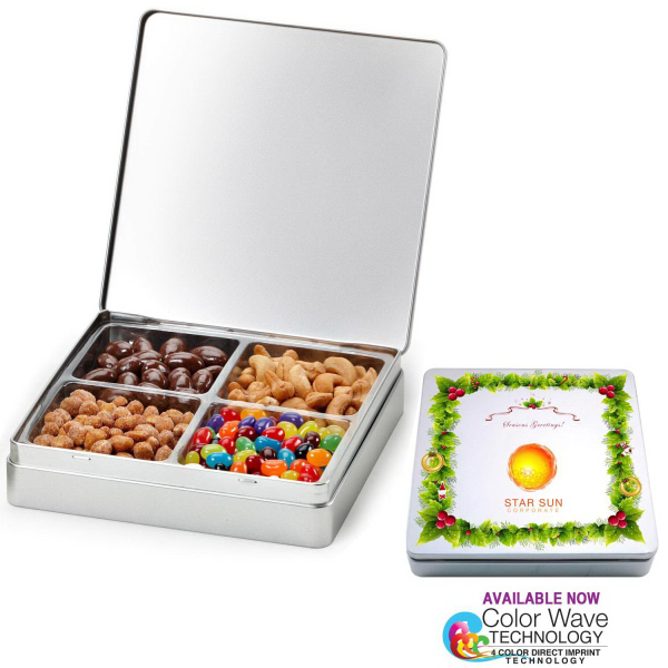 Gourmet Holiday Tin Gift Box with Nuts n Chocolates 4 Slots