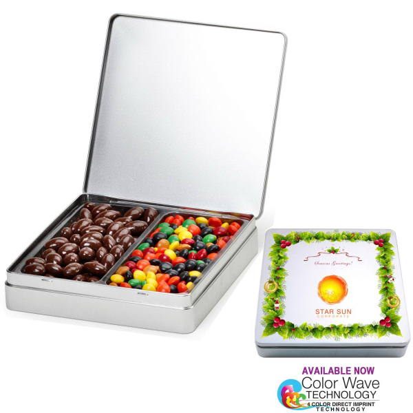 Gourmet Holiday Tin Gift Box with Nuts n Chocolates 2 Slots