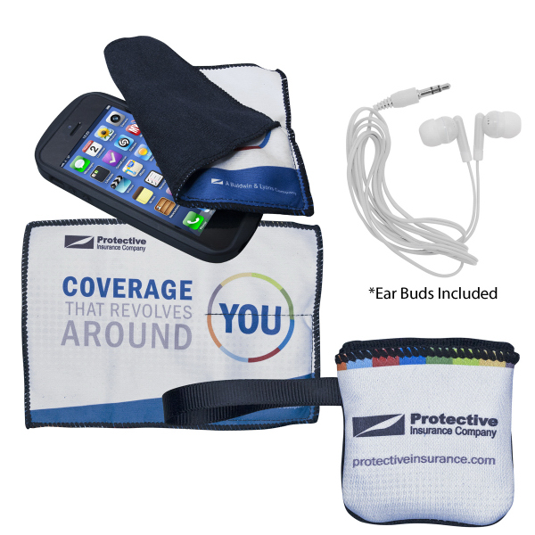 Personalized Terry Cloth Cleaning Pouch with Ear Buds
