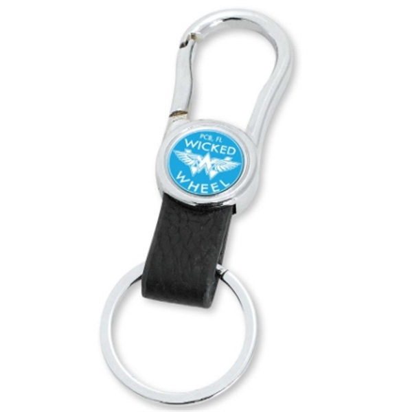 Promotional Black Leather Belt Clip Key Ring
