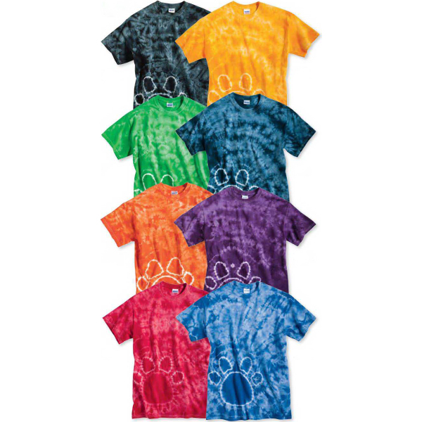 Customized Tie-Dyed Paw Print Short Sleeve T-Shirt