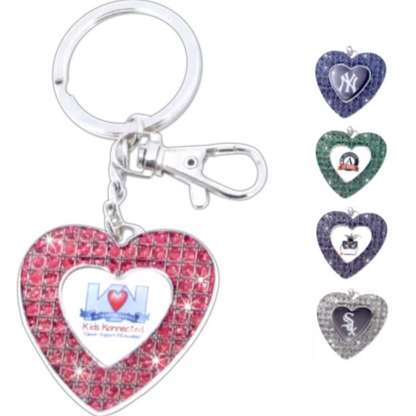 Personalized Glitter Stone (TM) Heart Keytag