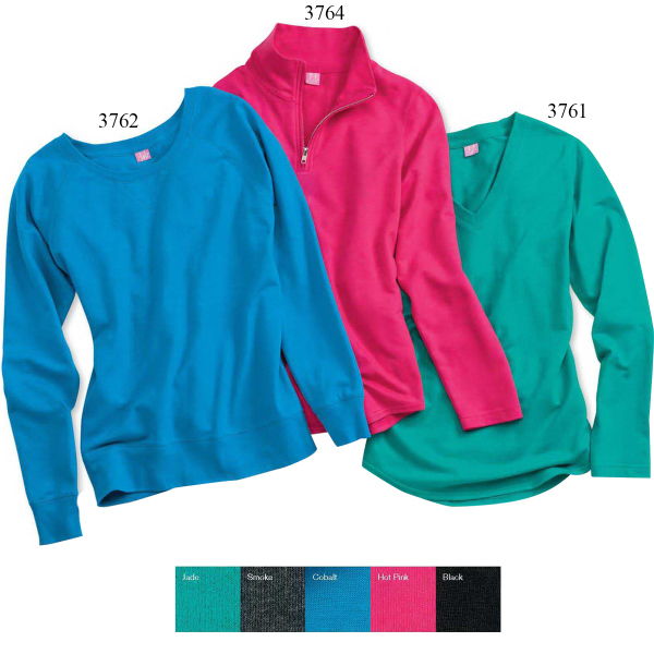 LAT Ladies' French Terry V-Neck Pullover
