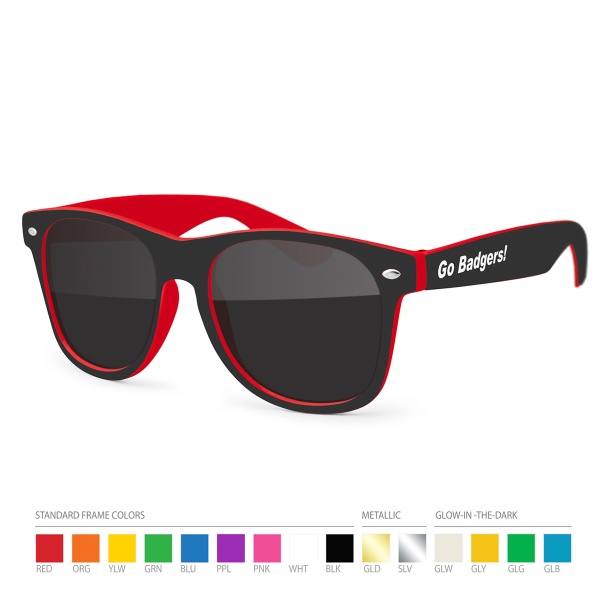 Custom Two-tone Wayfarer Red/Black Sunglasses with Side Imprint