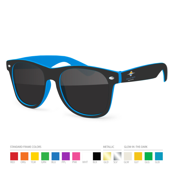 Customized Two-tone Wayfarer Blue/Black Sunglasses with Side Imprint