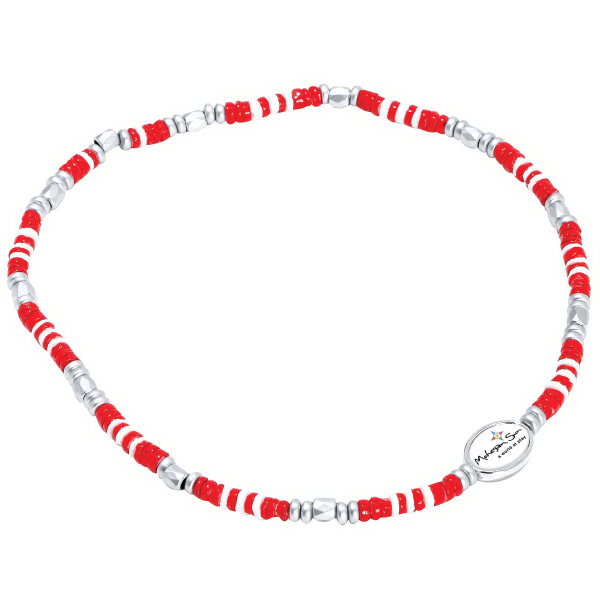 Printed Shell Bead Stretch Necklace