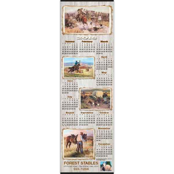 Imprinted Western Scroll Calendar