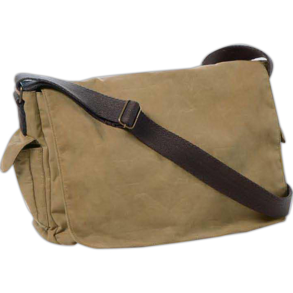 Printed Carolina Sewn Waxed Cotton Canvas Messenger Bag