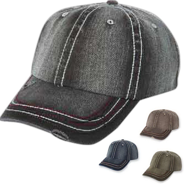 Personalized Mega Cap Low Profile Unstructured Herringbone Cap