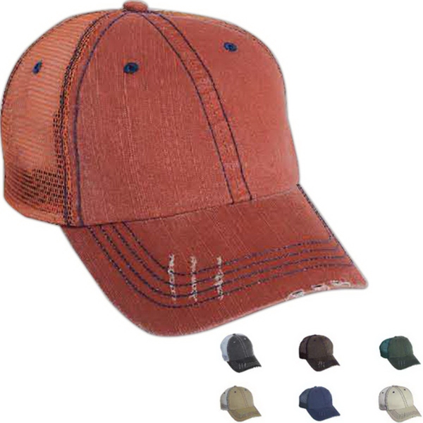 Imprinted Mega Cap Low Profile Herringbone Cotton Twill/ Mesh Cap