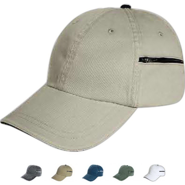 Promotional Mega Cap Low Profile Cap with Zippered Pocket