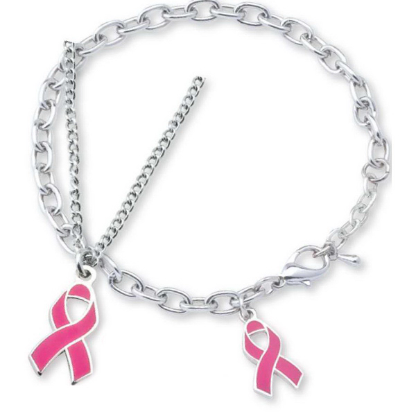 Promotional Die Struck Pink Ribbon Necklace