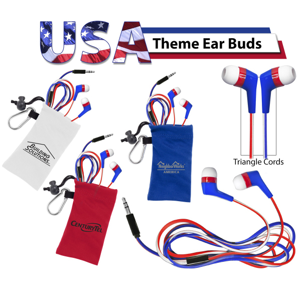 Imprinted Patriotic Ear Buds