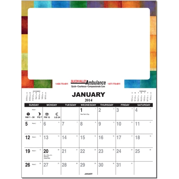 Repositionable Calendar with Erasable Top and Tear Off Pad
