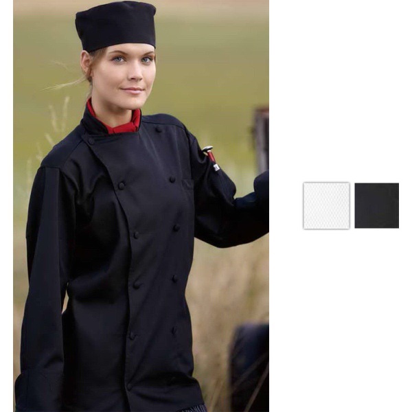 Customized Barbados Long Sleeve Chef Coat - Black