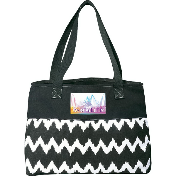 In Print Ikat Cotton Shopper Bag