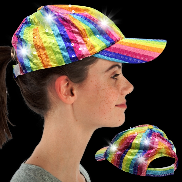 Imprinted Rainbow Sequin LED Baseball Hat