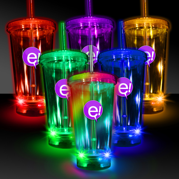 Printed Light Up Travel Cup with Matching Lid and Straw - 16 Ouce