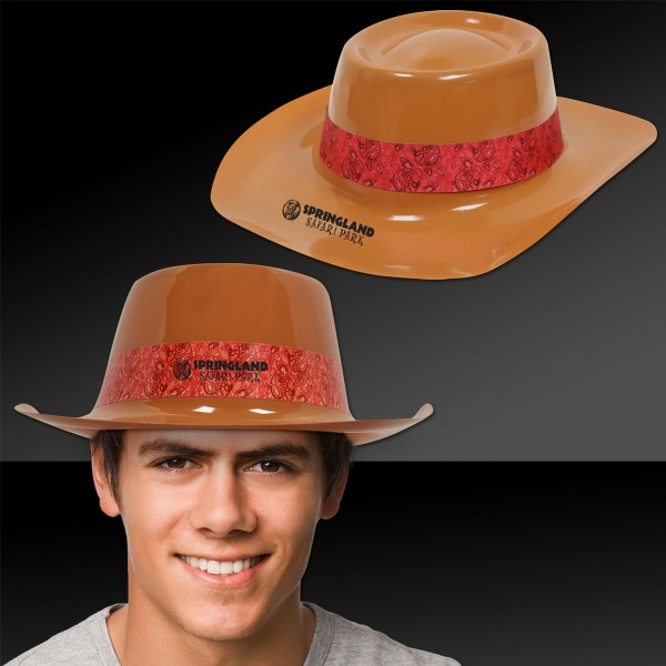 Custom Brown Plastic Cowboy Hat