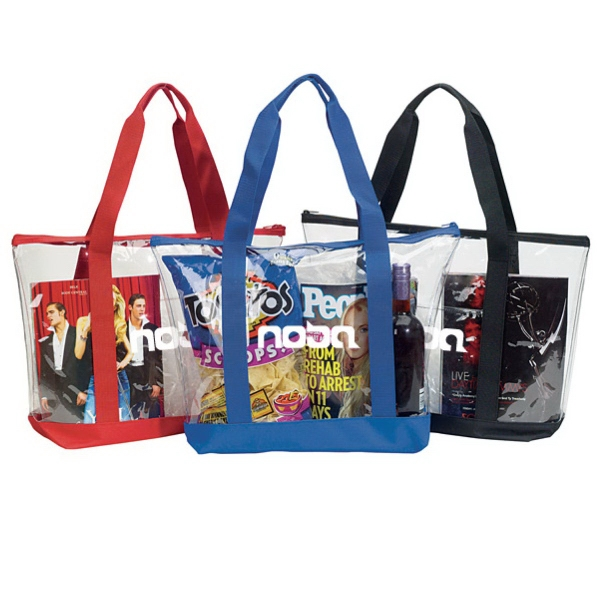 Personalized Clear Zipper Tote With Pocket