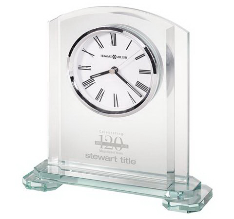Stratus glass table clock