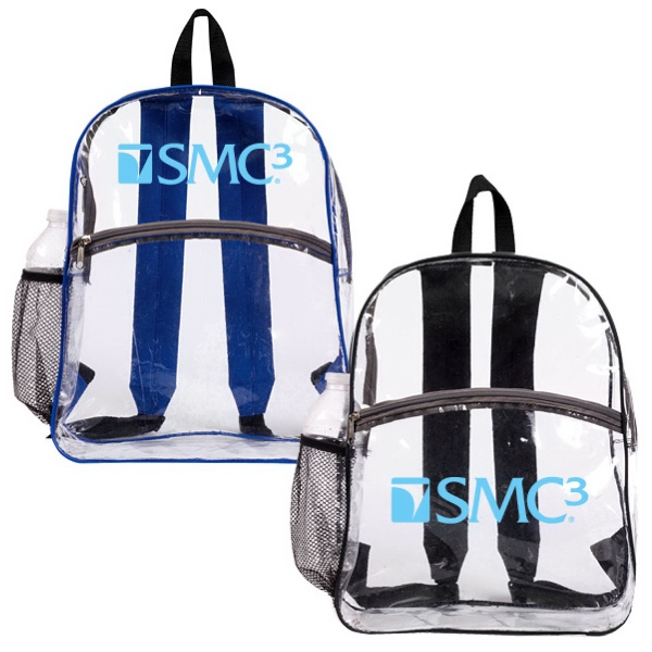 Printed Clear Zipper Backpack.
