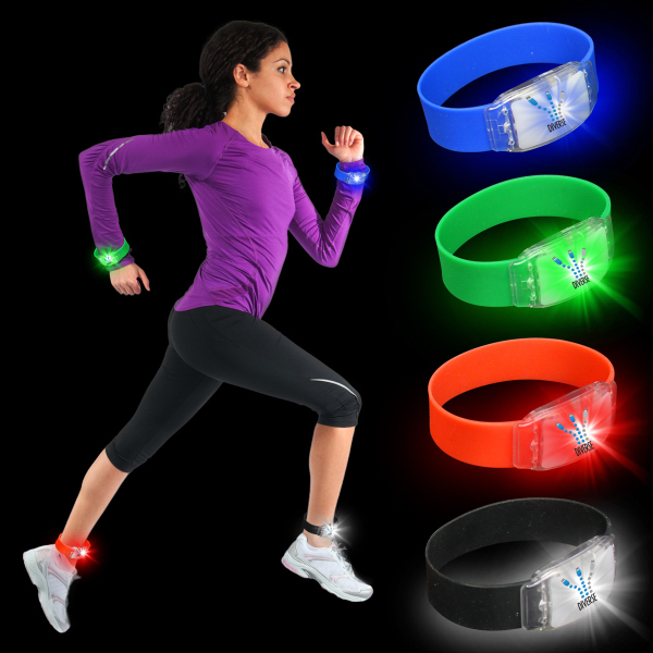 Printed Flashing LED Silicone Wristbands