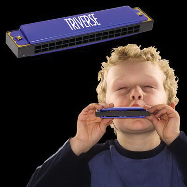 Imprinted Blue Bee Metal Harmonica