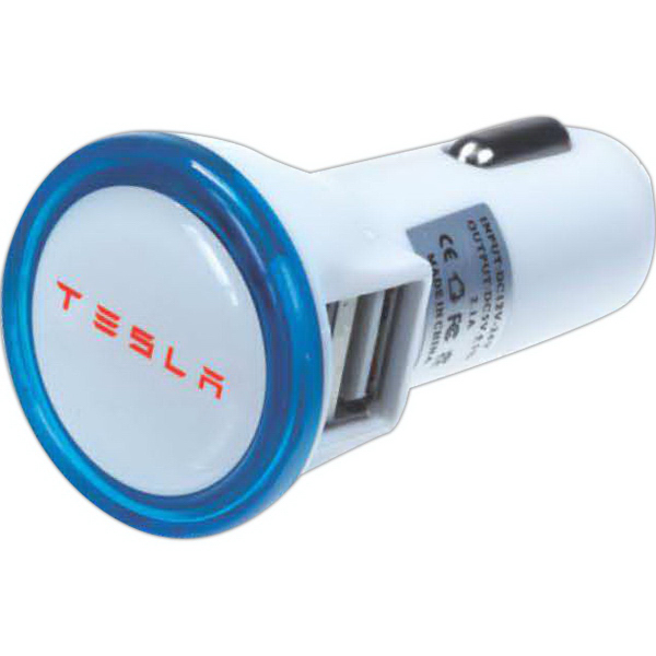 Personalized USB Car charger adapter with light-up bezel
