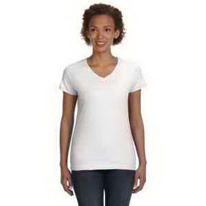 LAT Ladies' Fine Jersey V-Neck Longer Length T-Shirt
