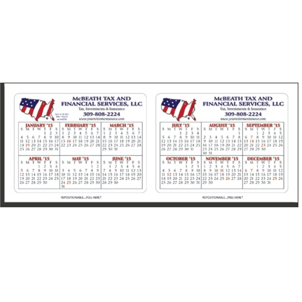 Printed CR-340 Repositionable Laptop/ Notebook Calendar- 6 Months