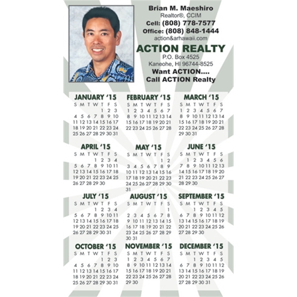 "Imprinted W-121R Calendar Card with Repositionable Strip 2 7/8"" x 5"""