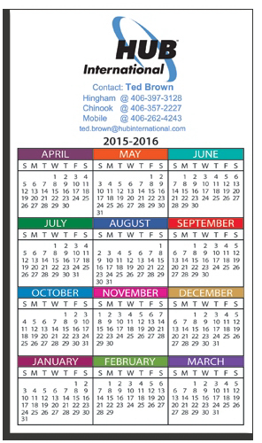 "Personalized W-353 Calendar Card 4"" x 7"""