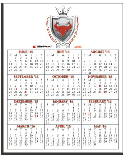 "Custom W-810R Calendar Card with Repositionable Strip 8"" x 10"""