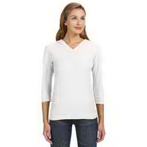 J. America Ladies' 3/4-Sleeve Slub T-Shirt