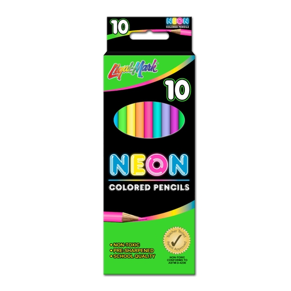"Custom 10 Pack Neon Colored Pencils - 7"" Pre-Sharpened"