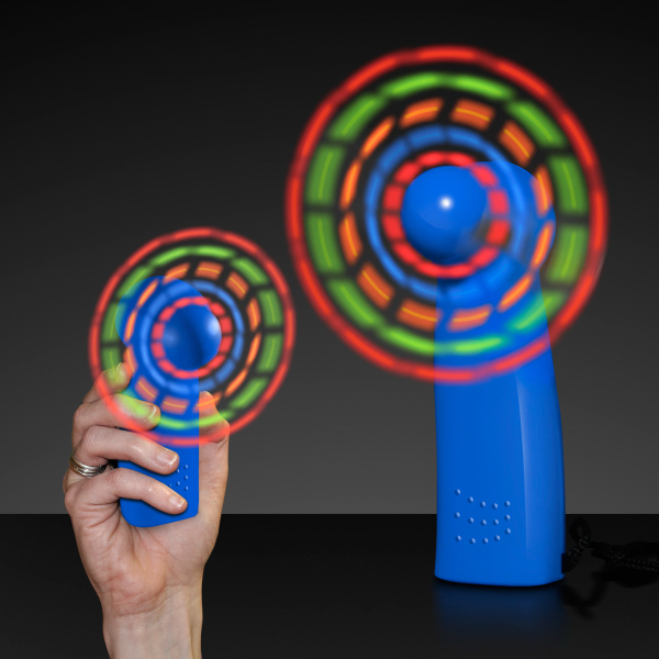 Light Up Promotional Mini Fans with Blue Handles - Blank