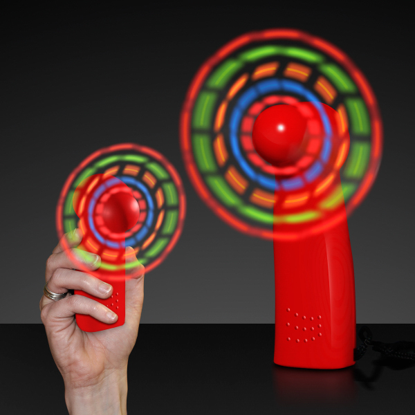 Light Up Promotional Mini Fans with Red Handles - Blank