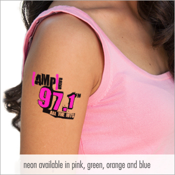 "2x2"" Neon Custom Temporary Tattoos"