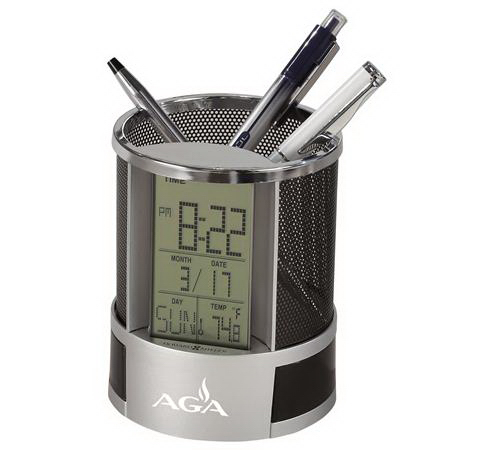 Desk Mate pencil cup and clock