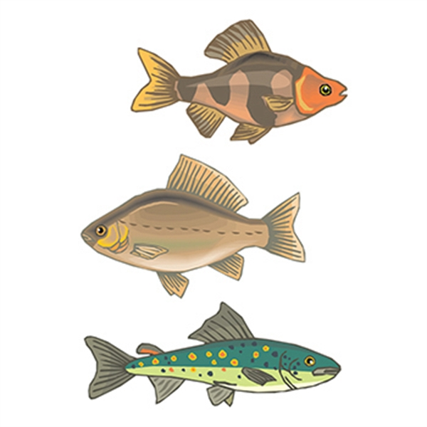 Set of 3 Fish Temporary Tattoos