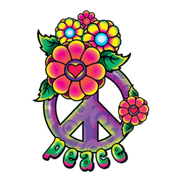Hippie Peace Sign Temporary Tattoo