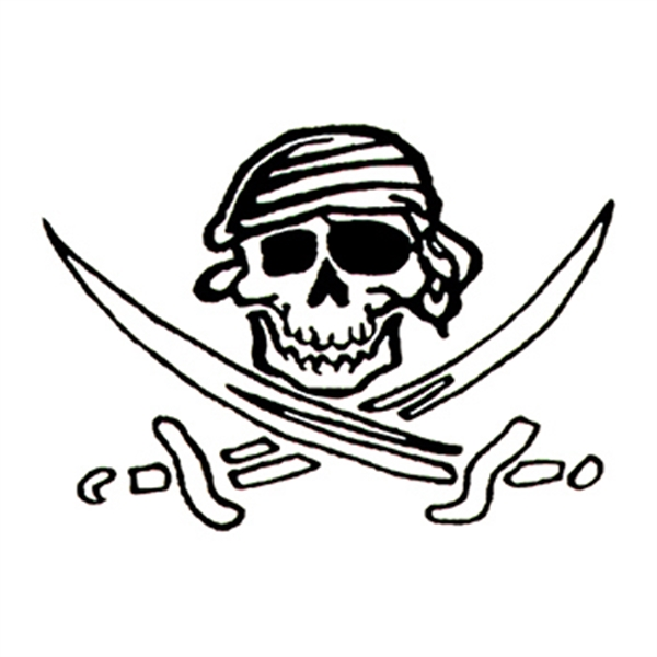 Glow in the Dark Skull and Swords Temporary Tattoo