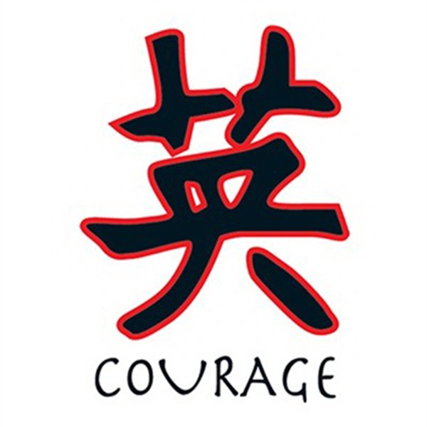Glow in the Dark Courage Kanji Temporary Tattoo